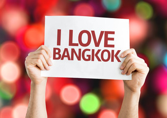 I Love Bangkok card with colorful background