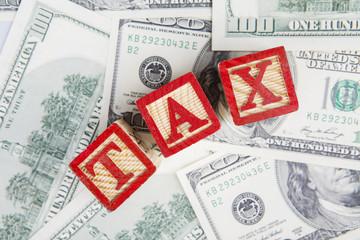 Dollar cash with tax word