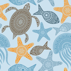 Vector Seamless Pattern with turtles, starfishes, and jellyfishe
