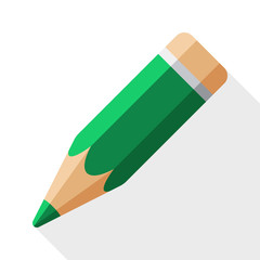 Pencil icon with long shadow on white background