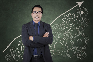 Entrepreneur with cog gear to success