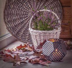 Heather on the white basket next to a candle. Toning