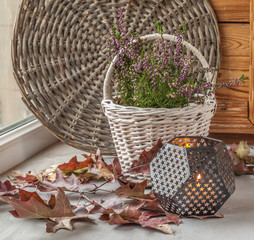 Heather on the white basket next to a candle
