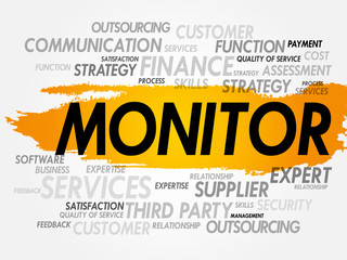 Word cloud of MONITOR related items, presentation background
