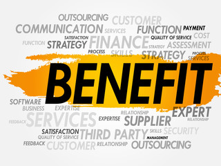 Word cloud of BENEFIT related items, presentation background