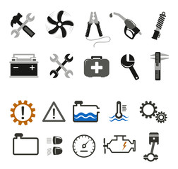 Car mechanic and service icons