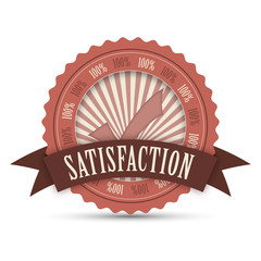 """100% SATISFACTION"" Badge (stamp label guarantee quality)"