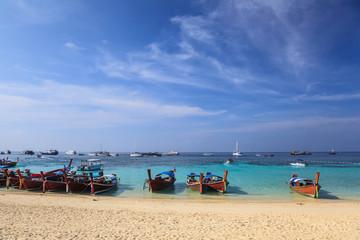 Longtail boat and beautiful beach of Koh Lipe island, Thailand
