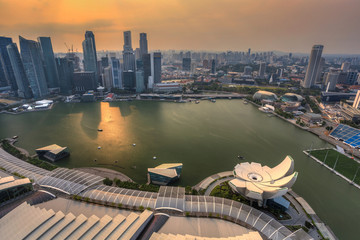 sunset at Singapore City Skyline view at Marina Bay