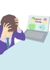 ビジネスマン、後悔、パソコン