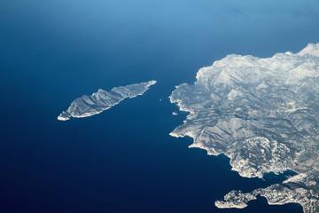 Top view on sea and island. Dragonera, Majorca, Spain