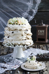 Pavlova with coffee and whipped cream