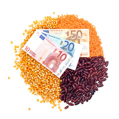 Pie chart of corn, lentils, kidney beans and euro notes on top
