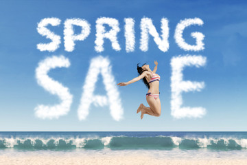 Female tourist with spring sale text