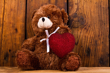 teddy bear and Valentine heart