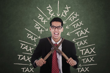 Frustrated man with tax trouble