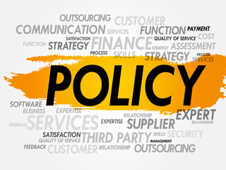 Word cloud of POLICY related items, presentation background