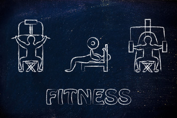 strenght training and weight lifting illustration, man using gym