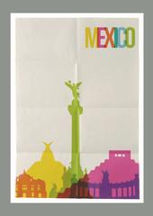 Travel Mexico landmarks skyline vintage poster