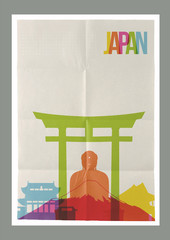 Travel Japan landmarks skyline vintage poster
