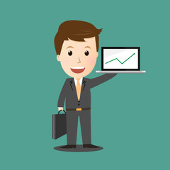 Vector of businessman make profit .laptop