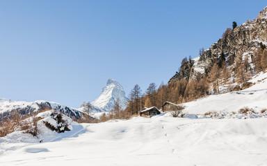 Zermatt, Dorf, Alpen, Almhütte, Furi, Wallis, Winter, Schweiz