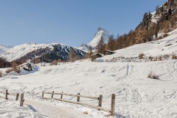Zermatt, Dorf, Furi, Bergsee, Wanderung, Winter, Schweiz