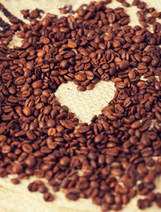 coffee beans on the textile background