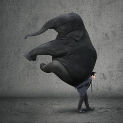 Male entrepreneur carrying elephant