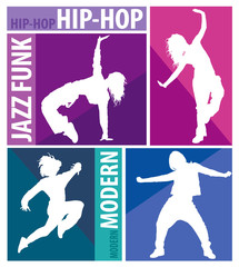 Silhouettes of girls dancing modern dance styles