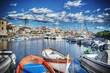 wooden boats in Stintino harbor in hdr - 78118303