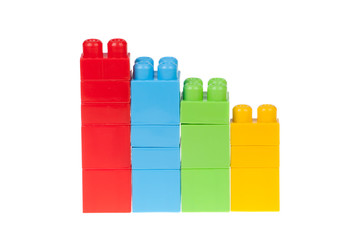 diagram of color plastic bricks, isolated on white