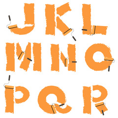 letters of the alphabet painted with paint roller
