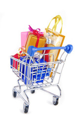 shopping trolley with presents gifts  isoalted on white