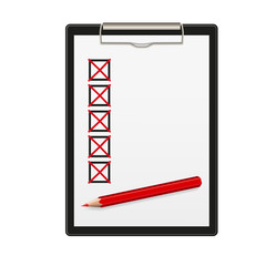 Clipboard, ticked off, red pencil