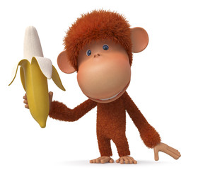 The monkey with banana