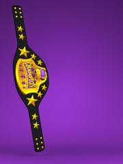 Champion Belt On Purple Text Space