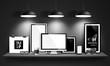 Modern workspace design. Vector - 78120539