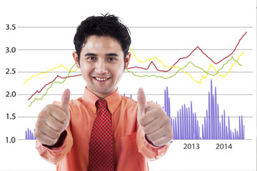 Successful businessman with chart