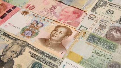 Various currency notes background. Dollar, Euro, Yuan, Lira, Kun