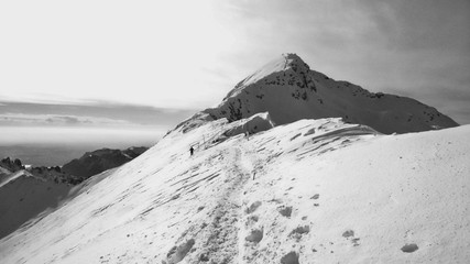 Crest of Grigna mountains during a winter trek