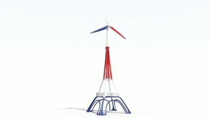 Animazione 3D torre Eiffel con eolica che girara