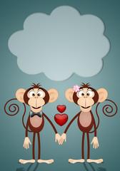 a couple of two Monkeys in love