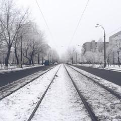 Tram rails under the snow
