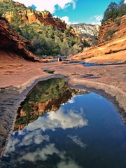 Reflections at Slide Rock State Park in Sedona, Arizona, USA