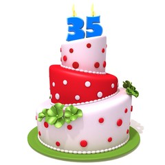 Birthday cake with number thirty five 3d illustration