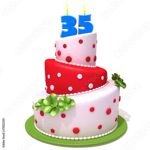 Birthday cake with number thirty five 3d illustration - 78122120