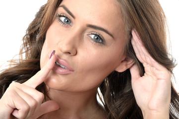 Attractive Young Woman Eavesdropping