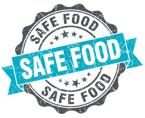 safe food vintage turquoise seal isolated on white