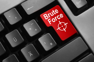 grey keyboard red button brute force